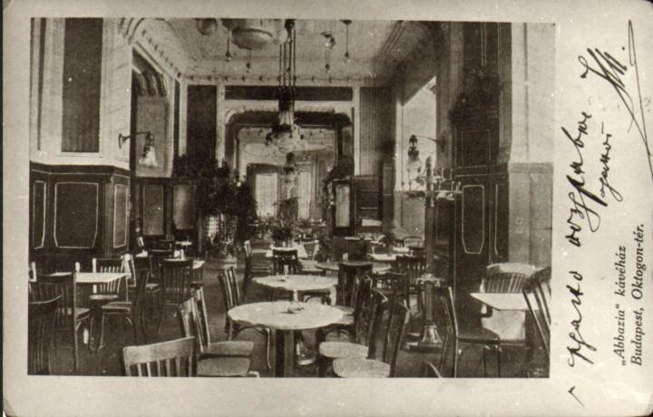 Az Abbázia belső tere egy képeslapon