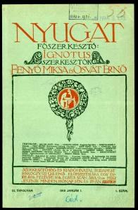 Nyugat címlap - 1910. január 1. (forrás: oszk.hu)