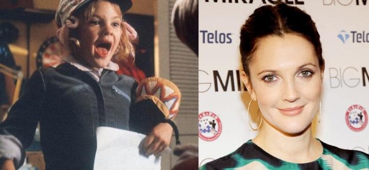 Drew Barrymore 1982-ben, és 2012-ben