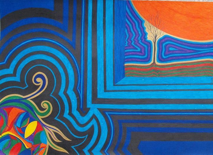Szeifert Natália: Narancshold (tinta, karton, 42x29cm)