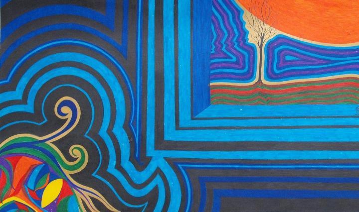 Szeifert Natália: Narancshold (tinta, karton, 42x22cm)