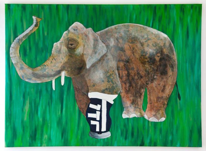 Taposóaknára lépett kambodzsai elefánt lábprotézissel (2012, olaj, vászon, 110x160)