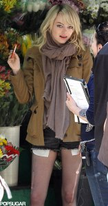 Emma Stone a forgatáson