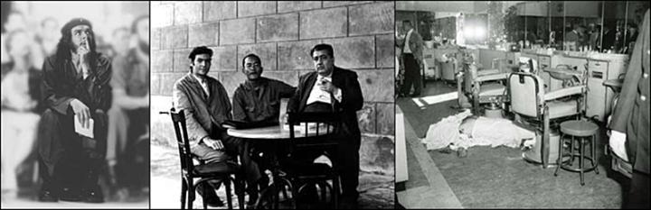 Balra Che, középen Julio Cortázar, Chinolope és José Lezama Lima 1963-ban Havannában, jobbra a híres fodrászműhely.