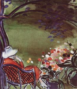 Vaszary János: Nő kertben székkel, 1930, Magyar Nemzeti Galéria, Budapest