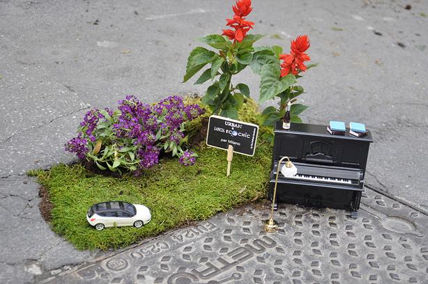 Stewe Wheen gerillakertész pothole-artja Milánóból