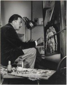 Dalí dolgozik a Destino egyik festményén