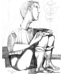 Szalay Lajos: Ülő fiú
