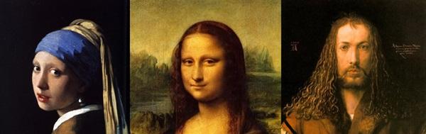 Vermeer: Leány gyöngy föóülbevallóval // Da Vinci: Mona Lisa // Dürer: Önarckép