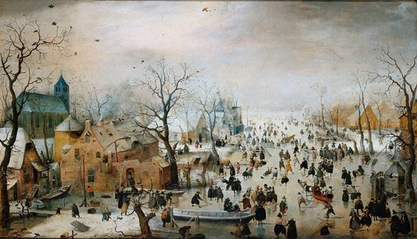 Hendrick Avercamp: Téli tájkép korcsolyázókkal, 1608, Rijksmuseum, Amsterdam
