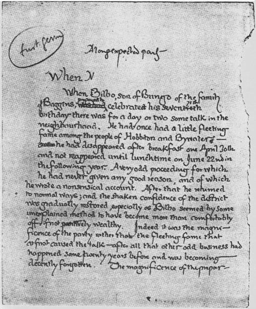 J. R. R. Tolkien: A gyűrűk ura kéziratának eredeti első oldala. 1937.