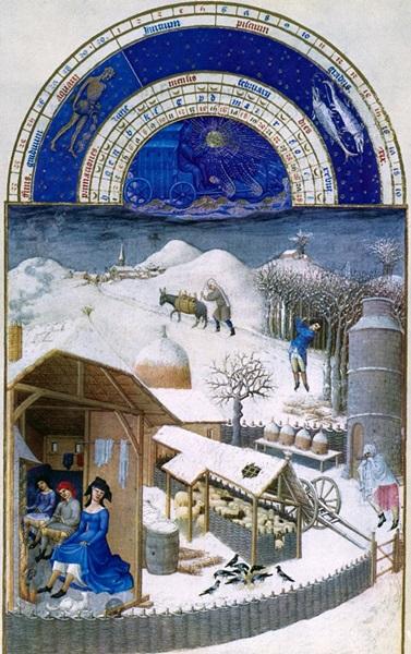 Limbourg fivérek: Február hónap illusztrációja , 1412- 1416 k.