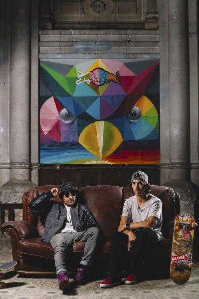 Okuda San Miguel (balra) és egy fiatal gördeszkás a Skate Church-ben (Fotó: red Bull Media)