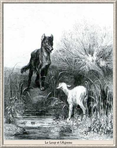 A farkas és a bárány - Fontaine mese illusztrációja