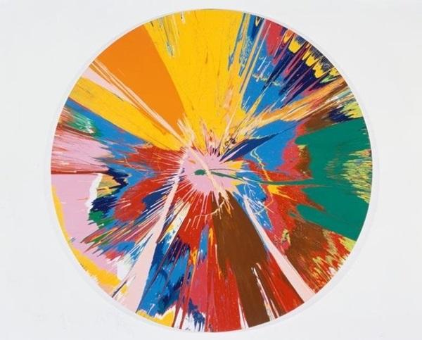 A gyűjtemény egy másik darabja: Damien Hirst - Beautiful, shattering, slashing, violent, pinky, hacking, sphincter painting, 1994 (fotó: huffingtonpost.com)