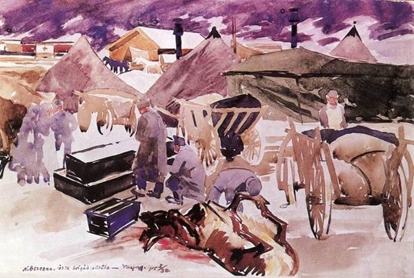 Vaszary János: Nagybereznai tábor, sütöde (1915)