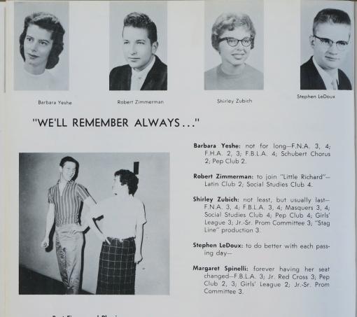 """A Hibbing Hihg School évkönyve 1959-ből. Robert Zimmerman (Bob Dylan) fent, balról a második. len olvasható, milxyen ambíciót jelöltek meg a diákok. Zimmerman: """"To join Little Richard"""""""